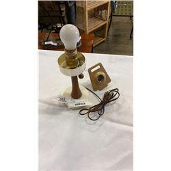 VINTAGE TEAK AND STONE LAMP AND BRASS PEEPHOLE