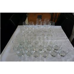 LOT OF GLASS AND STEMWARE