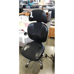 BLACK LEATHER OFFICE CHAIR-VISIBLE WEAR ON TOP