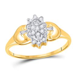 Womens Round Diamond Oval Cluster Ring 1/10 Cttw 10kt Yellow Gold - REF-10W9K
