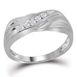 Mens Round Diamond Diagonal Single Row Wedding Band Ring 1/8 Cttw 10kt White Gold - REF-23H5R