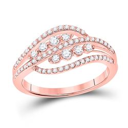 Womens Round Diamond Crossover Fashion Ring 1/2 Cttw 10kt Rose Gold - REF-31K5Y