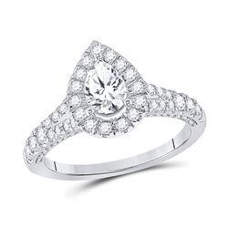 Pear Diamond Halo Bridal Wedding Engagement Ring 1-1/4 Cttw 14kt White Gold - REF-155H5R