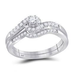 Round Diamond Swirl Bridal Wedding Ring Band Set 1/3 Cttw 10kt White Gold - REF-35Y5N