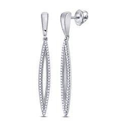 Womens Round Diamond Oblong Geometric Dangle Earrings 1/3 Cttw 10kt White Gold - REF-30F9W