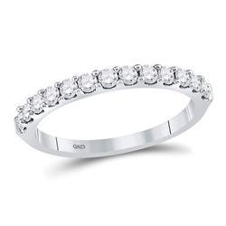 Womens Round Diamond Single Row Wedding Band 1/2 Cttw 14kt White Gold - REF-30N5F