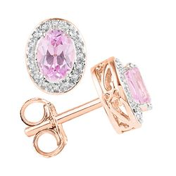 Womens Oval Morganite Stud Diamond Accent Earrings 1-1/3 Cttw 10kt Rose Gold - REF-41X9A