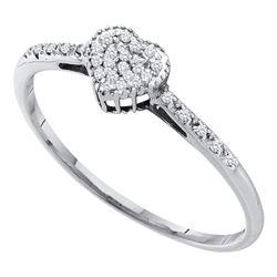 Womens Round Diamond Slender Heart Ring 1/20 Cttw 14kt White Gold - REF-11Y9N