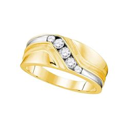 Mens Round Diamond Wedding Band Ring 3/8 Cttw 10kt Yellow Gold - REF-45X5A
