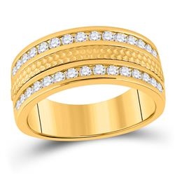 Mens Round Diamond Wedding Hammered Band Ring 1 Cttw 14kt Yellow Gold - REF-120X5A