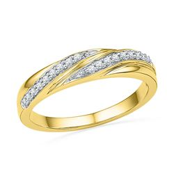 Womens Round Diamond Simple Band Ring 1/10 Cttw 10kt Yellow Gold - REF-13Y5N