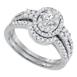 Diamond Princess Bridal Wedding Ring Band Set 7/8 Cttw 14kt White Gold - REF-88R9X