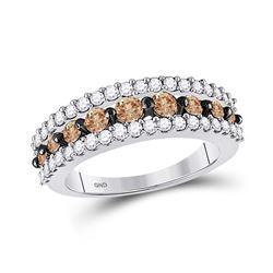 Womens Round Brown Diamond Band Ring 1-1/2 Cttw 10kt White Gold - REF-48H5R