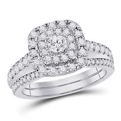 Round Diamond Bridal Wedding Ring Band Set 1 Cttw 14kt White Gold - REF-91R9X