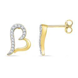 Womens Round Diamond Heart Earrings 1/10 Cttw 10kt Yellow Gold - REF-8W9K