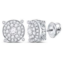 Womens Round Diamond Concentric Circle Cluster Earrings 1 Cttw 14kt White Gold - REF-77M5H