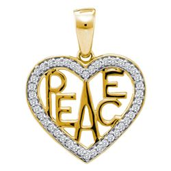 Womens Round Diamond Peace Heart Pendant 1/6 Cttw 10kt Two-tone Gold - REF-13W9K