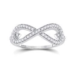 Womens Round Diamond Infinity Ring 1/3 Cttw 10kt White Gold - REF-25W5K