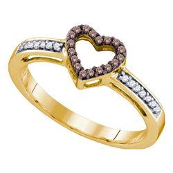 Womens Round Brown Diamond Heart Ring 1/8 Cttw 10kt Yellow Gold - REF-12R5X