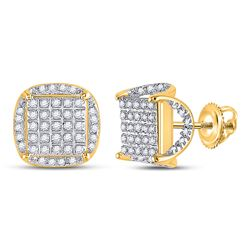 Mens Round Diamond Square Stud Earrings 1/3 Cttw 10kt Yellow Gold - REF-17A5M