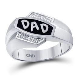 Mens Round Diamond Dad Father Ring .01 Cttw 10kt White Gold - REF-15W5K