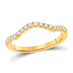 Womens Round Diamond Wedding Curved Enhancer Band 1/5 Cttw 10kt Yellow Gold - REF-16W9K