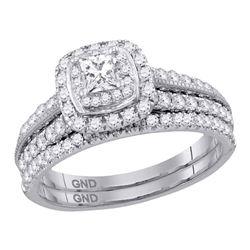 Princess Diamond Bridal Wedding Ring Band Set 1 Cttw 14kt White Gold - REF-123H5R