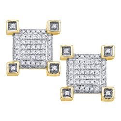 Mens Round Diamond Cluster Earrings 1/5 Cttw 10kt Yellow Gold - REF-19R5X