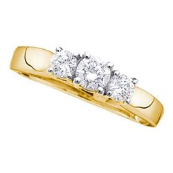Round Diamond 3-stone Bridal Wedding Engagement Ring 1-1/2 Cttw 14kt Yellow Gold - REF-150M9H