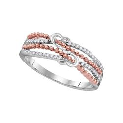 Womens Round Diamond Heart Roped 2-tone Rose Band Ring 1/8 Cttw 10kt White Gold - REF-12W5K