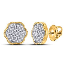 Womens Round Diamond Cluster Earrings 1/5 Cttw 10kt Yellow Gold - REF-15K9Y