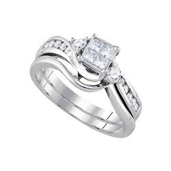 Diamond Princess Bridal Wedding Ring Band Set 1/2 Cttw 14kt White Gold - REF-57W5K