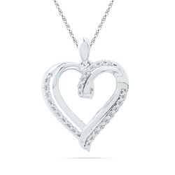 Womens Round Diamond Heart Pendant 1/10 Cttw 10kt White Gold - REF-13Y9N