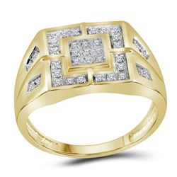 Mens Round Diamond Square Cluster Ring 1/4 Cttw 10kt Yellow Gold - REF-29Y9N
