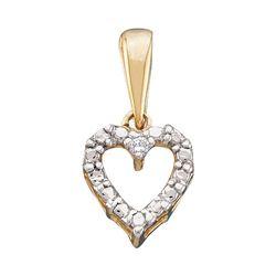 Womens Round Diamond Heart Pendant .01 Cttw 10kt Yellow Gold - REF-3N5F