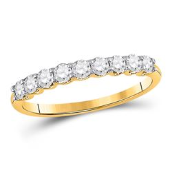 Womens Round Diamond Single Row Band Ring 1/2 Cttw 14kt Yellow Gold - REF-32Y5N