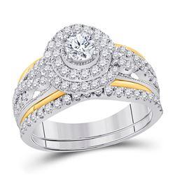 Round Diamond Bridal Wedding Ring Band Set 1-1/5 Cttw 14kt Two-tone Gold - REF-118R9X