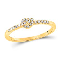 Womens Round Diamond Heart Knot Stackable Band Ring 1/8 Cttw 10kt Yellow Gold - REF-14K9Y