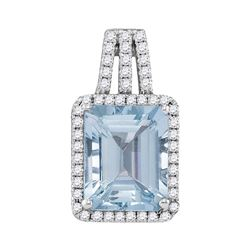 Womens Emerald Aquamarine Diamond Solitaire Pendant 2-7/8 Cttw 14kt White Gold - REF-79M9H