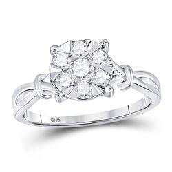 Womens Round Diamond Twist Flower Cluster Ring 1/2 Cttw 10kt White Gold - REF-32R5X