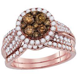 Womens Round Brown Diamond Bridal Wedding Engagement Ring Band Set 14kt Rose Gold - REF-112A5M