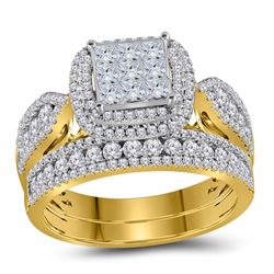 Princess Diamond Bridal Wedding Ring Band Set 1-1/2 Cttw 14kt Yellow Gold - REF-98X5A