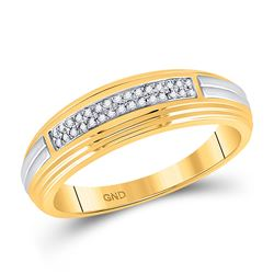Mens Round Diamond Double Row Wedding Band 1/10 Cttw 10kt Yellow Two-tone Gold - REF-21X9A