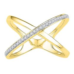 Womens Round Diamond Negative Space Crossover Band Ring 1/6 Cttw 10kt Yellow Gold - REF-17H5R