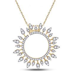Womens Round Diamond Sunburst Circle Pendant 3/4 Cttw 14kt Yellow Gold - REF-52R9X