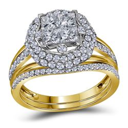 Princess Diamond Bridal Wedding Ring Band Set 1-1/2 Cttw 14kt Yellow Gold - REF-104A9M