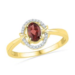 Womens Oval Lab-Created Garnet Solitaire Ring 5/8 Cttw 10kt Yellow Gold - REF-10Y5N