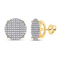 Mens Round Diamond Circle Cluster Earrings 1/2 Cttw 10kt Yellow Gold - REF-32A5M