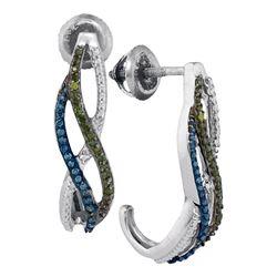 Womens Round Green Blue Color Enhanced Diamond Half J Hoop Earrings 1/4 Cttw 10kt White Gold - REF-1