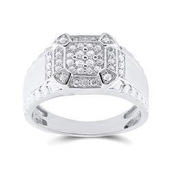 Mens Round Diamond Square Ring 1/2 Cttw 10kt White Gold - REF-41W5K